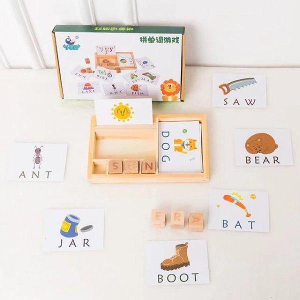 cartonase si cuburi din lemn sa invatam engleza