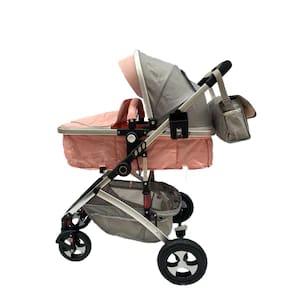 carucior copii 3in1 cu suspensii roz 3