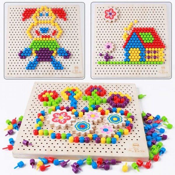 joc creativ din lemn mosaic pixel 2