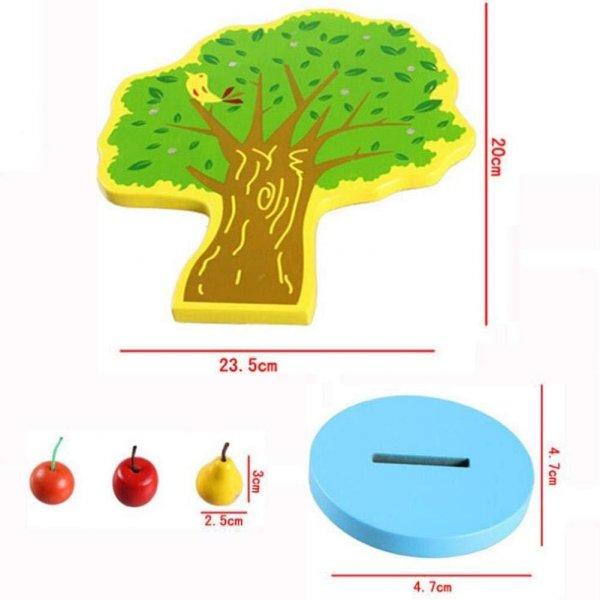 jucarie din lemn 17 piese copacelul cu fructe