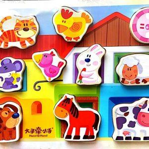puzzle din lemn 10 animale domestice