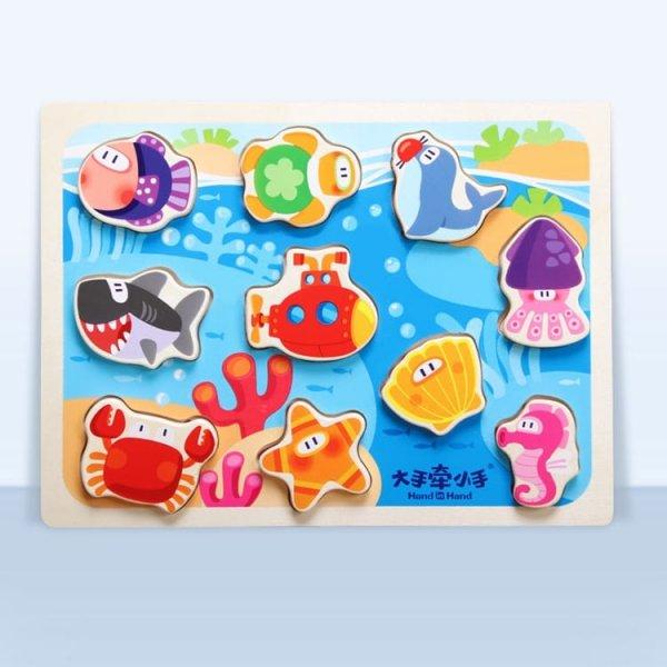 puzzle din lemn animale subacvatice