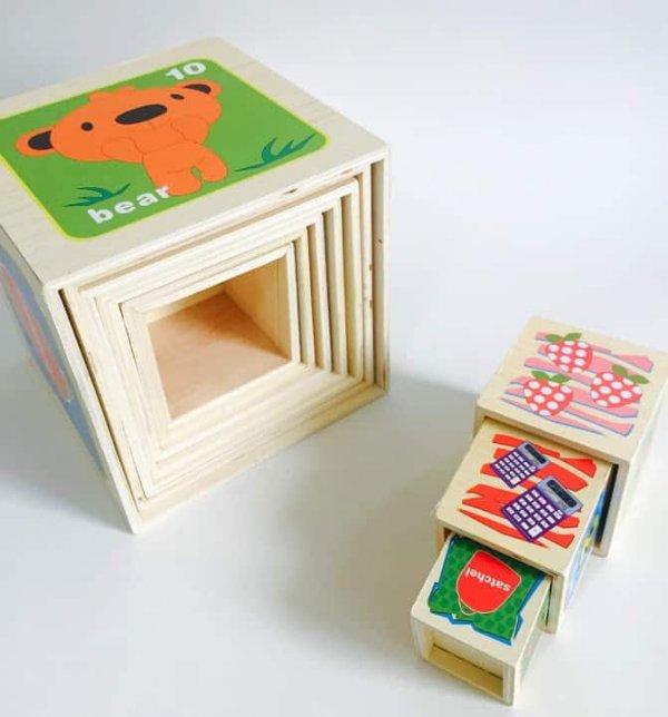 set 10 cuburi cognitive din lemn 1
