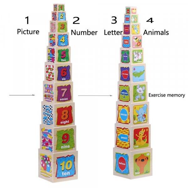 set 10 cuburi cognitive din lemn 2