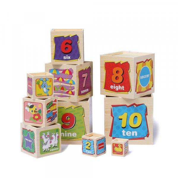 set 10 cuburi cognitive lemn