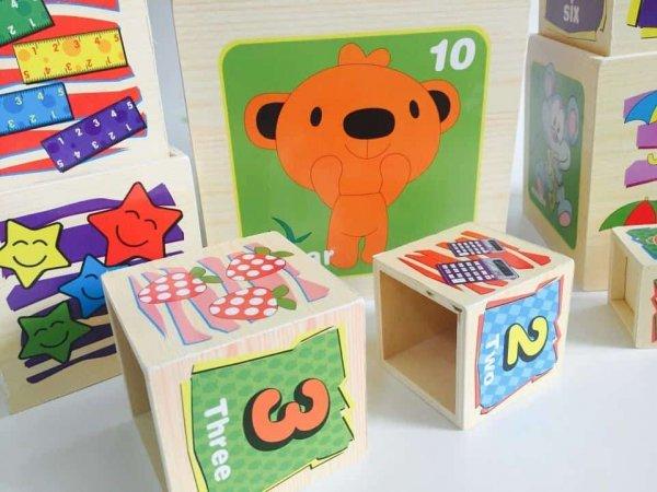 set 10 cuburi cognitive din lemn