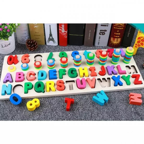 joc logaritmic din lemn cu litere si cifre 1