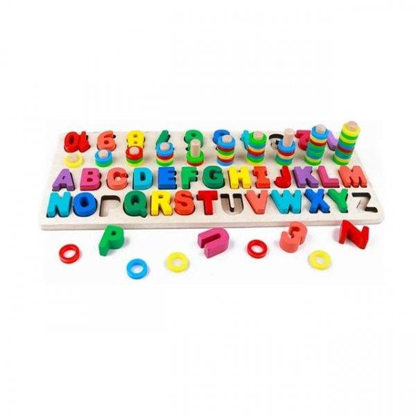 joc logaritmic din lemn cu litere si cifre 3