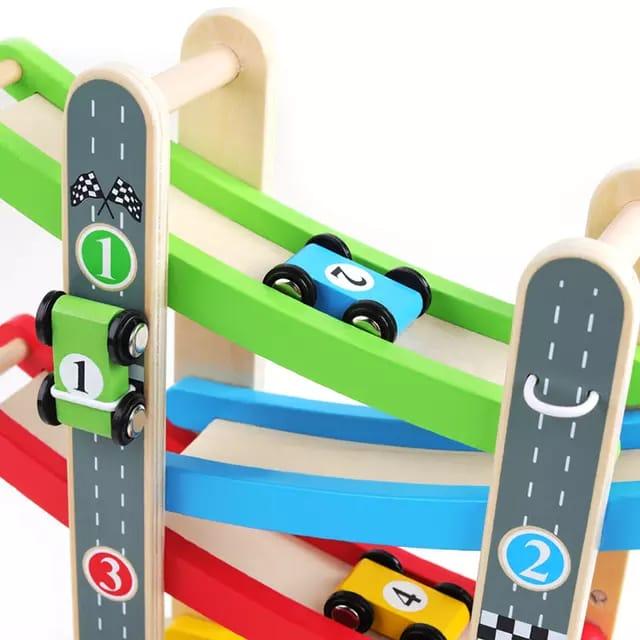 pista de curse din lemn color glider 3