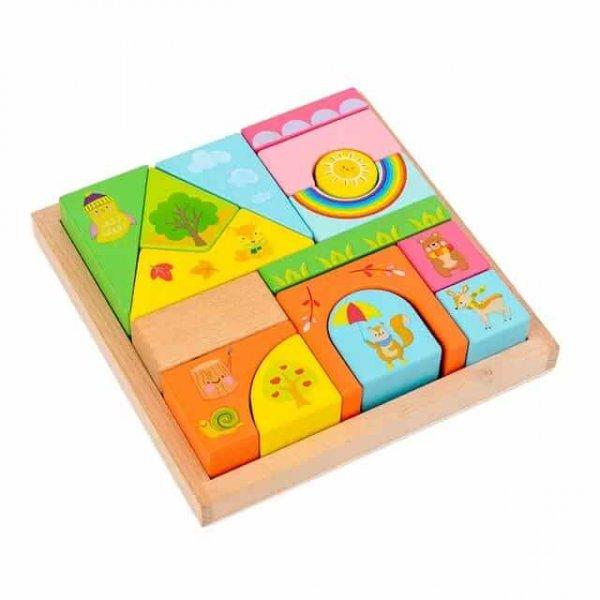 joc de stivuit din lemn cutiuta cu forme geometrice 1