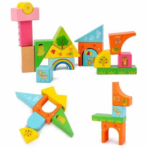 joc de stivuit din lemn cutiuta cu forme geometrice 2