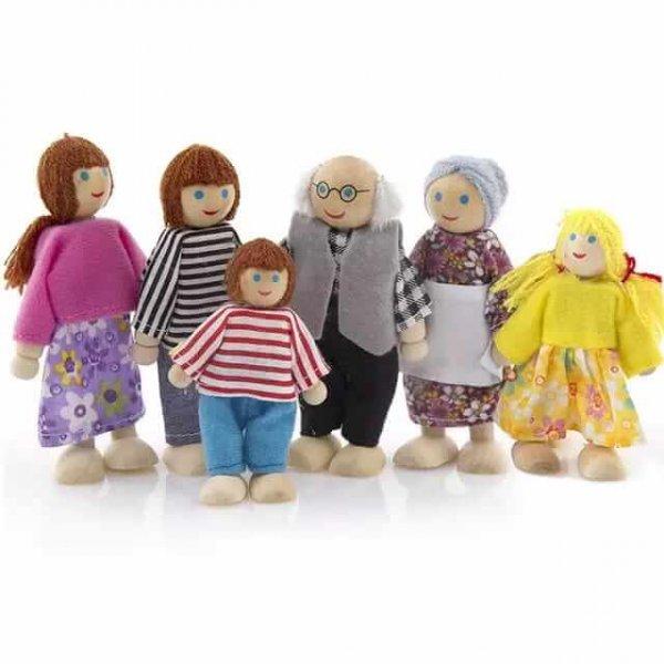 set 6 papusi din lemn familia puppet 1