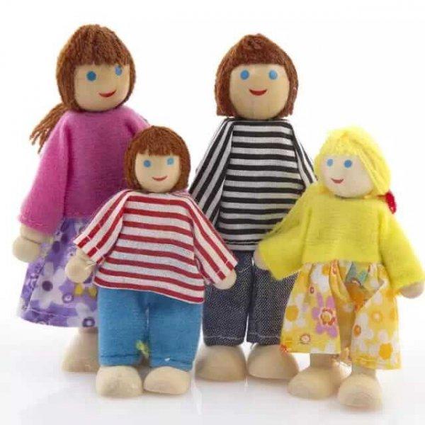 set 6 papusi din lemn familia puppet 2