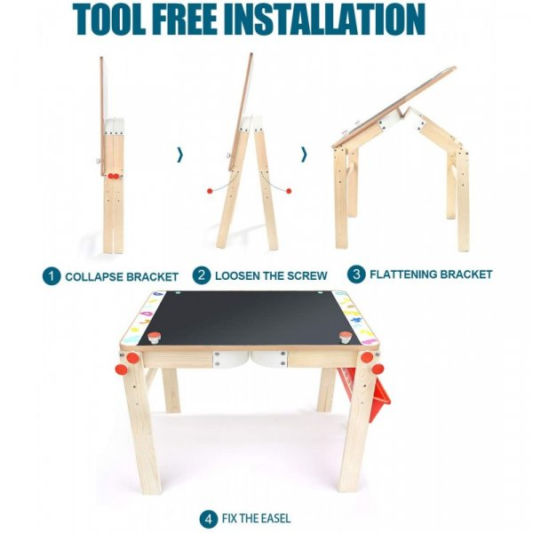 masuta multifunctionala din lemn cu tablita 6
