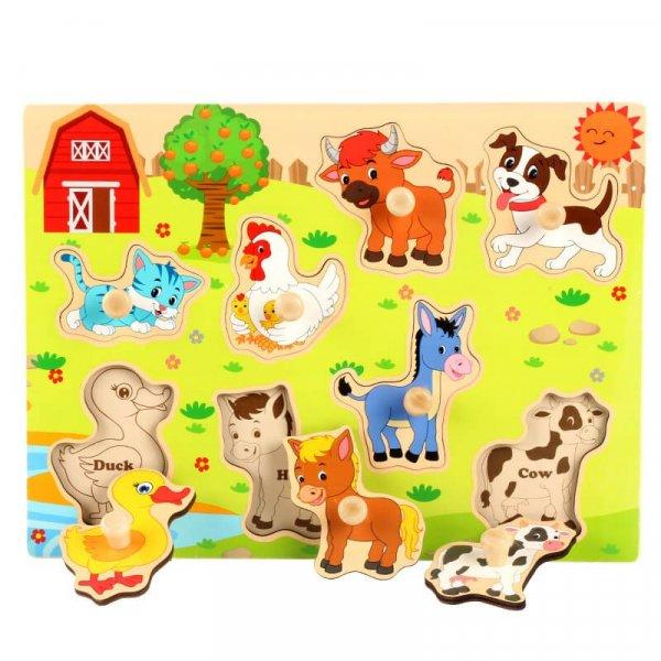 puzzle lemn animalute din ferma
