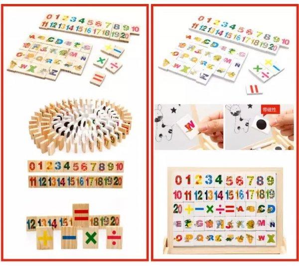 tablita multifunctionala din lemn cu litere cifre ilustratii