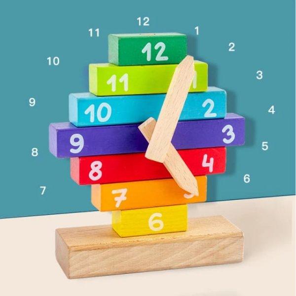 joc de stivuit din lemn invata ceasul 1