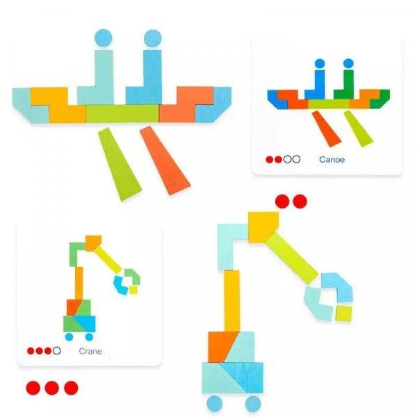 joc montessori tangram 21 piese 3ani 1