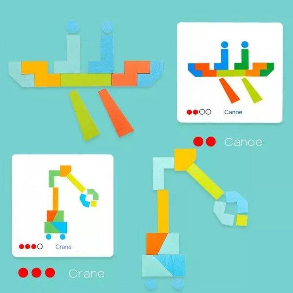 joc montessori tangram 21 piese 3ani 2
