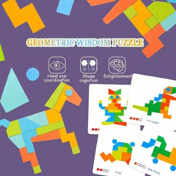 joc montessori tangram 21 piese 3ani
