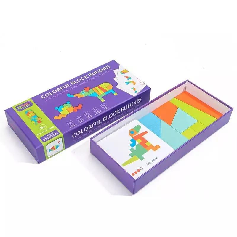 joc montessori tangram 21 piese 3ani 9