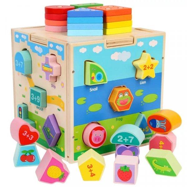 jucarie montessori cub sortator din lemn 2