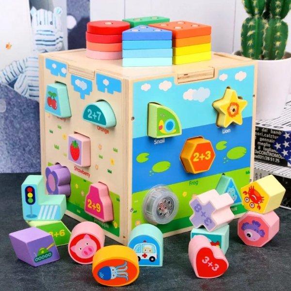 jucarie montessori cub sortator din lemn 5