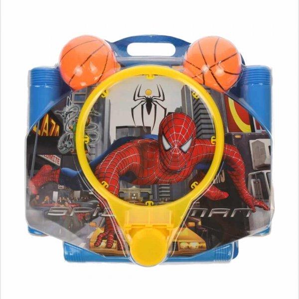 cos de baschet cu panou si minge spiderman
