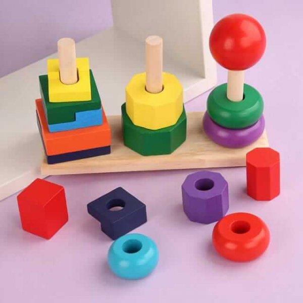 joc de stivuit din lemn forme geometrice 1