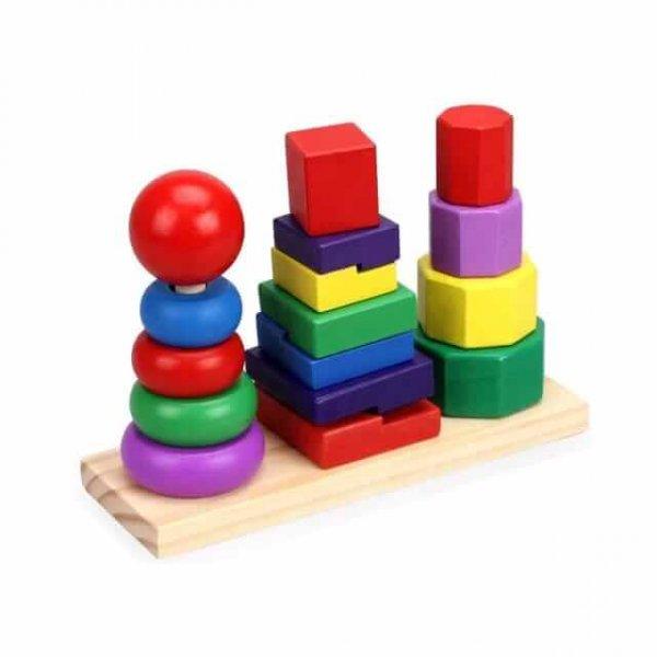 joc de stivuit din lemn forme geometrice 3