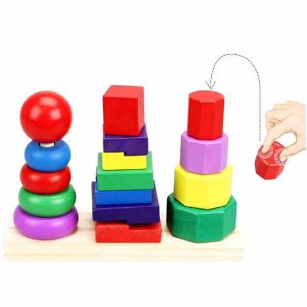 joc de stivuit din lemn forme geometrice 6