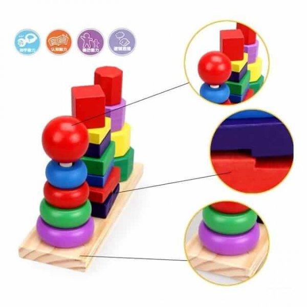 joc de stivuit din lemn forme geometrice