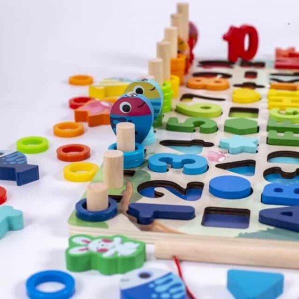 joc din lemn tip montessori tablita logaritmica si animale 3