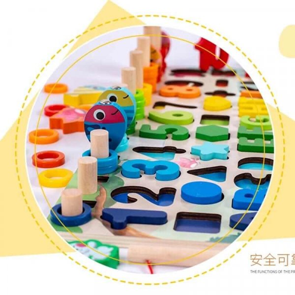 joc din lemn tip montessori tablita logaritmica si animale 6