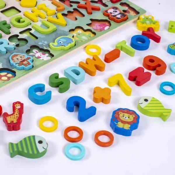 joc din lemn tip montessori tablita logaritmica si animale 7