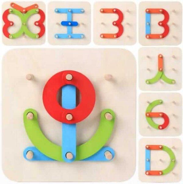 joc educativ din lemn invata alfabetul si creaza forme 3