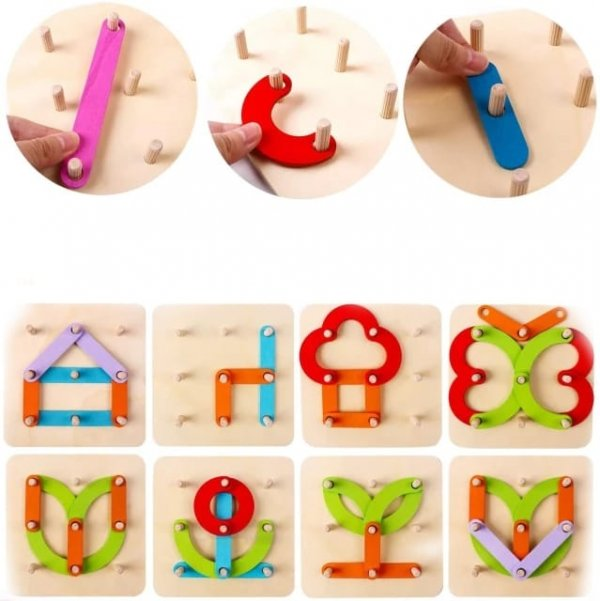 joc educativ din lemn invata alfabetul si creaza forme