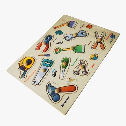 puzzle din lemn cu maner unelte