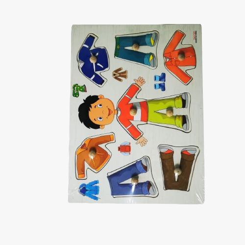 puzzle din lemn incastru imbraca copii 1
