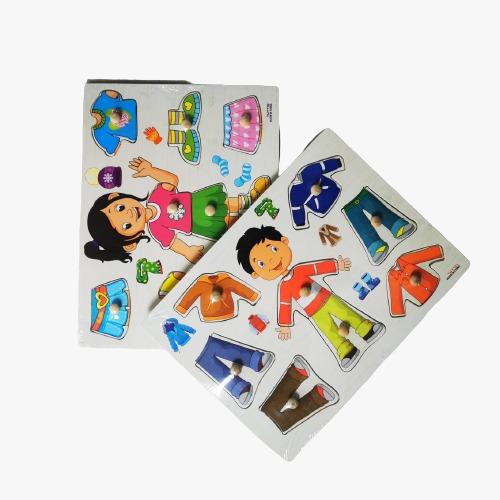 puzzle din lemn incastru imbraca copii 3
