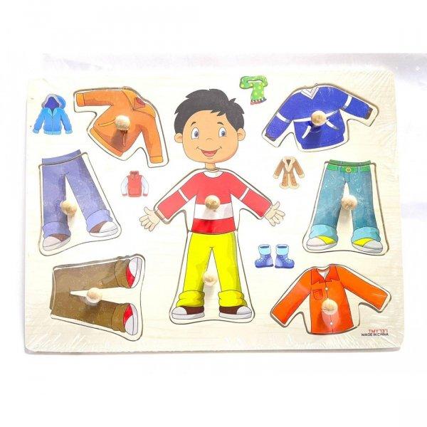 puzzle din lemn incastru imbraca copii