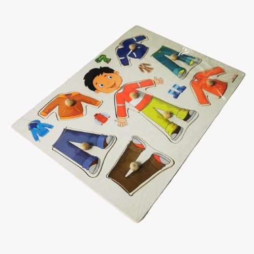 puzzle din lemn incastru imbraca copii 9