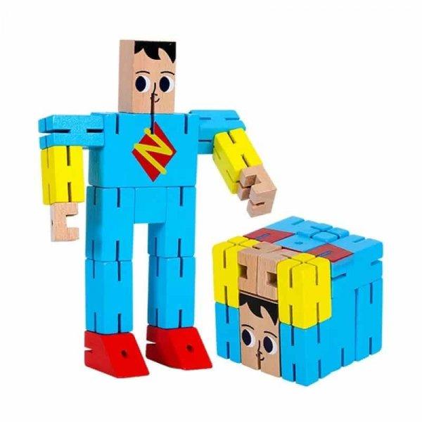 cub rubic din lemn super erou