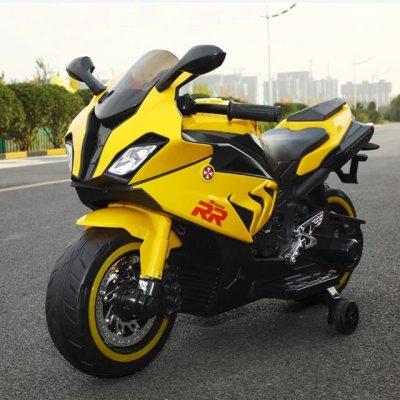 motocicleta electrica pentru copii galben